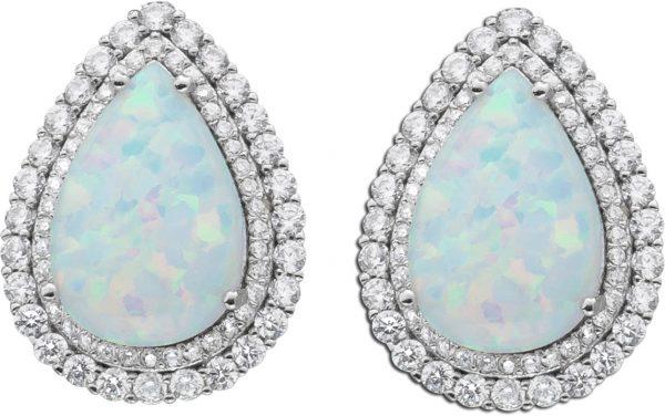 Weis blaue Opal Ohrringe Ohrstecker Silb...