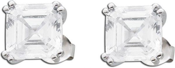 Quadratische Solitär Ohrringe weißen Zirkonia Ohrstecker  Silber 925