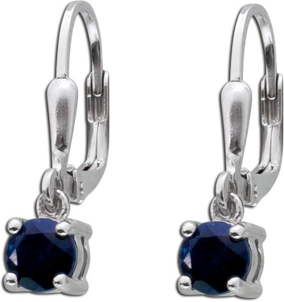 Brisur Ohrringe Silber 925 facettierte Saphire dunkelblau