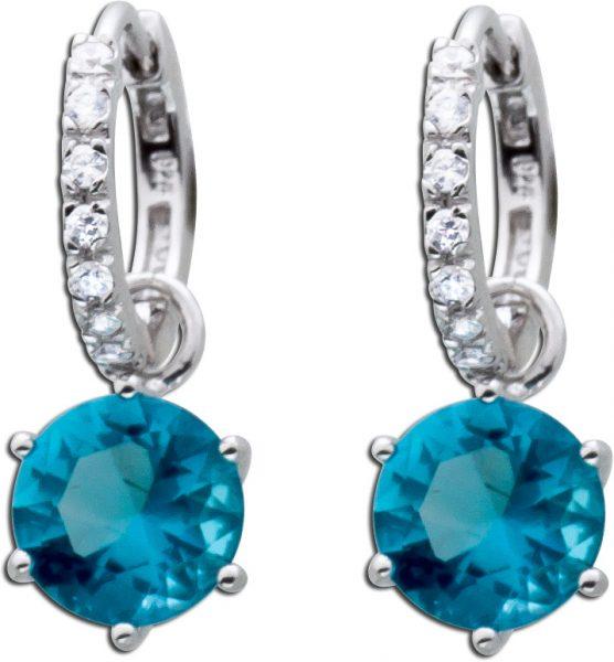 Blaue Scharniercreolen Silber 925 Ohrringe blau weiße Zirkonia