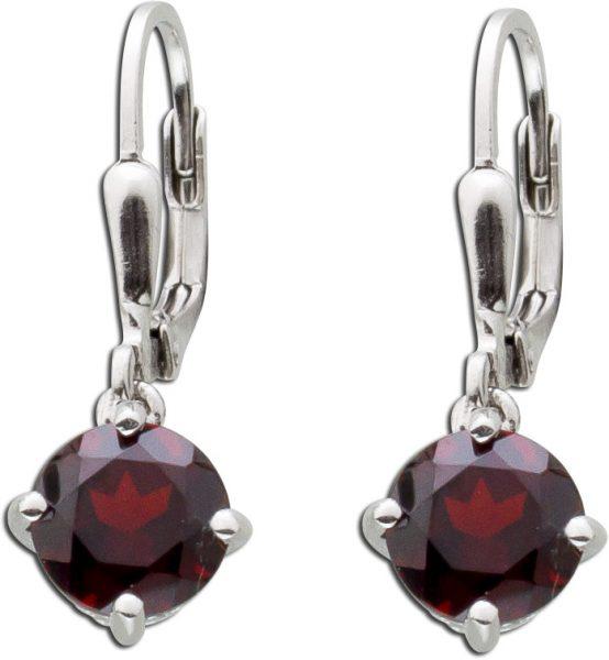 Rote Edelstein Ohrringe Ohrhänger Silber 925 Brisur Roter Granat