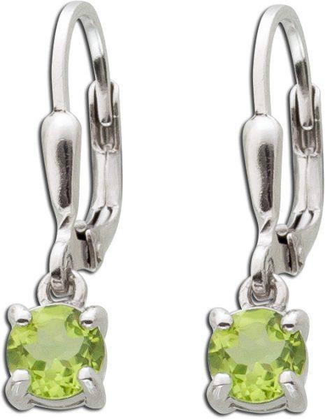 Edelstein Ohrringe Ohrhänger Silber 925 grüner Peridot Brisur