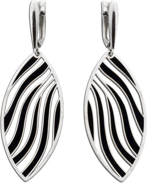 Ohrhänger Silber 925 schwarz lackiert O...