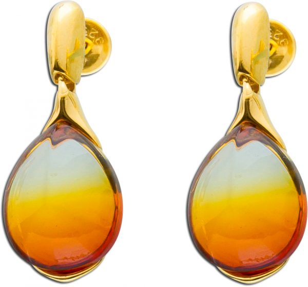 Bernstein Ohrhänger Ohrstecker Edelsteinohrstecker orangefarben Silber 925 gelb vergoldet  leichter Farbverlauf