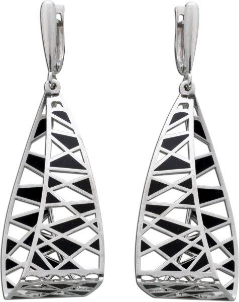 Ohrringe Silber 925 Ohrhänger schwarz m...