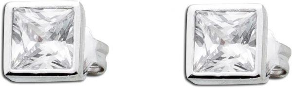 Ohrstecker Silber 925 Ohrringe weiß Zirkonia rechteckig