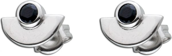 Ohrringe Silber 925 Ohrstecker schwarz Zirkonia