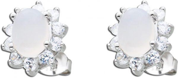 Edelstein Ohrstecker weiß Silber 925 Chalcedon Zirkonia Ohrringe