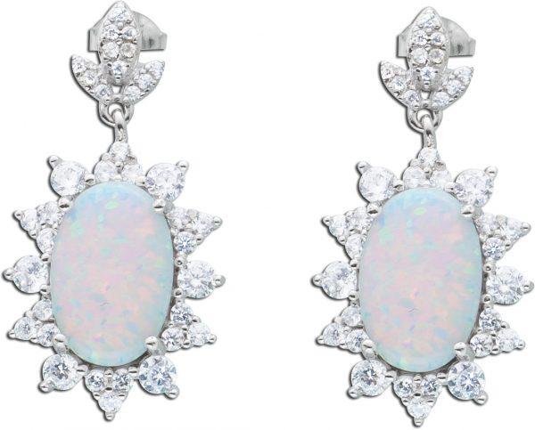 Opalohrring weiss Ohrstecker Opale Silber 925 klare Zirkonia