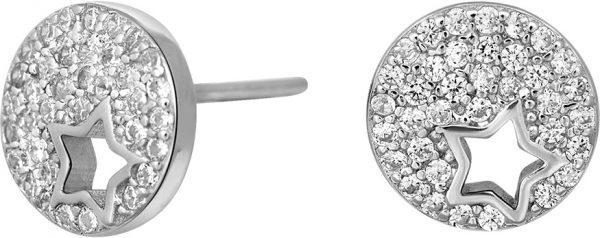 JOANLI NOR Ohrstecker Stern Silber 925 klare Zirkonia Cala Ohrringe 9mm Durchmesser 345 160