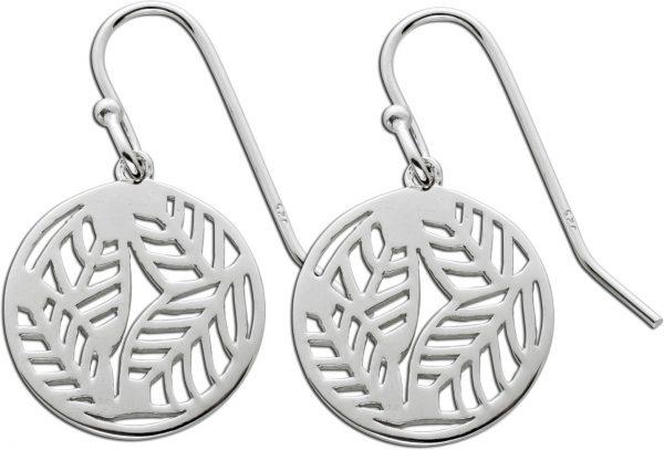 Runde Blatt Ohrhänger Silber 925 Damenschmuck