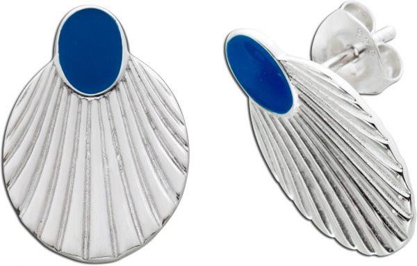 Muschel Ohrstecker blauer Emaille Silber 925  Damenschmuck