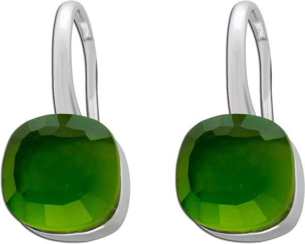 Ohrringe Silber 925 Ohrhänger Perlmutt grün Zirkonia Toyo Yamamoto