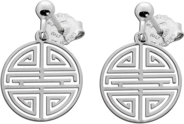 Ohrstecker Ohrringe verziert Silber 925 bewegliche Labyrinthmuster Plättchen