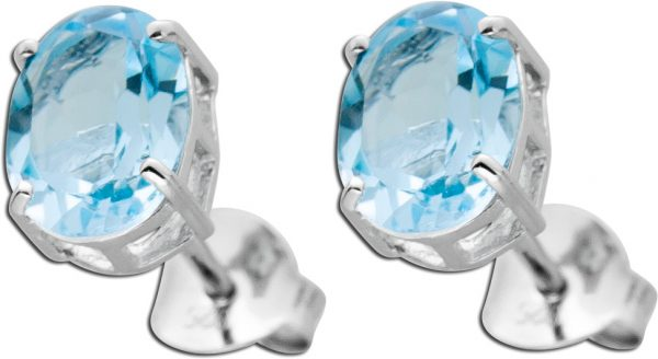 Blaue Edelstein Ohrringe Ohrstecker Silber 925 facettiert oval Blautopas