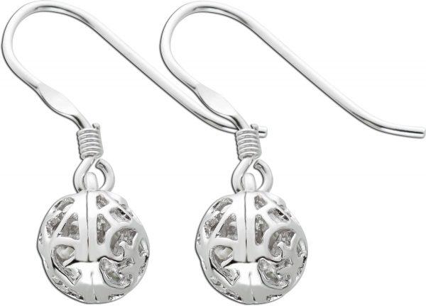 Kugel Ohrhänger Ohrringe Silber 925 ausgestanzte Muster Verzierung
