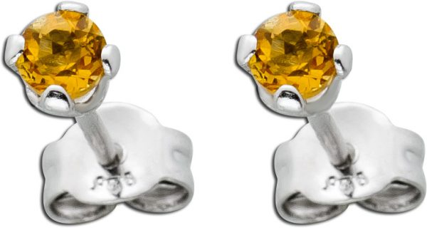 Edelstein Ohrstecker Ohrringe Silber 925 runder facettierter gelber Citrin 3mm