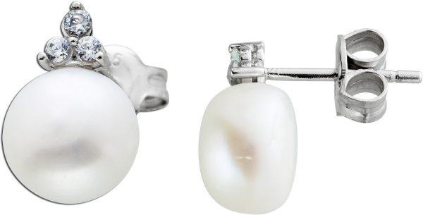 Weiße Perlen Ohrstecker Süßwasserperlen rund Silber 925 Zirkonia