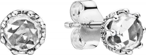 PANDORA Ohrstecker 298311CZ Clear Sparkling Crown Sterling Silber Solitär Zirkonia