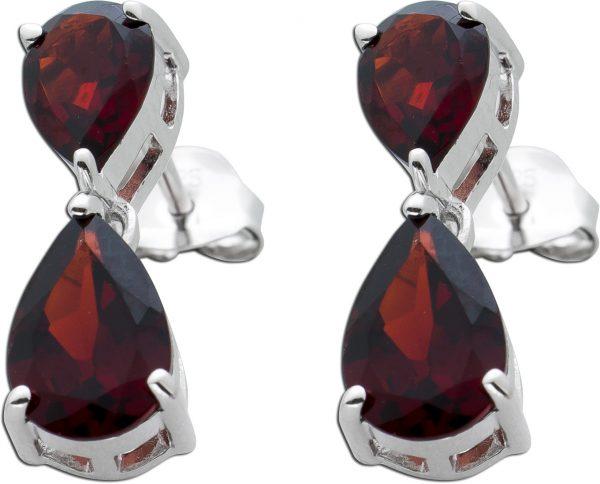 Bewegliche Edelstein Ohrringe Ohrstecker Silber 925 roter Granat Tropfen facettiert