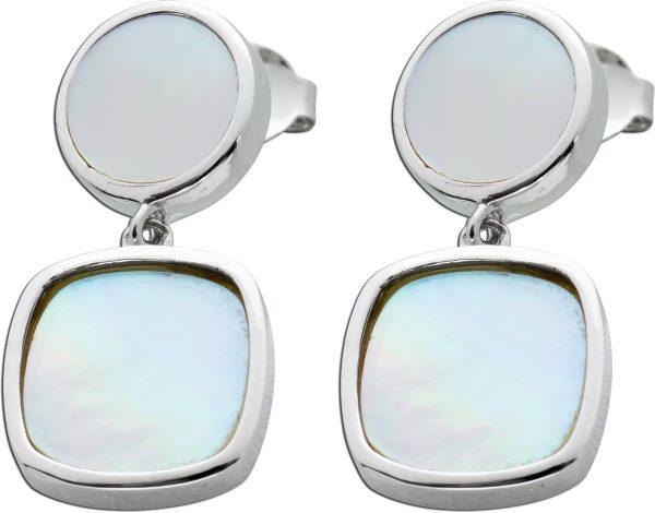 Bewegliche Ohrstecker weißen Perlmutt Silber 925 Ohrringe