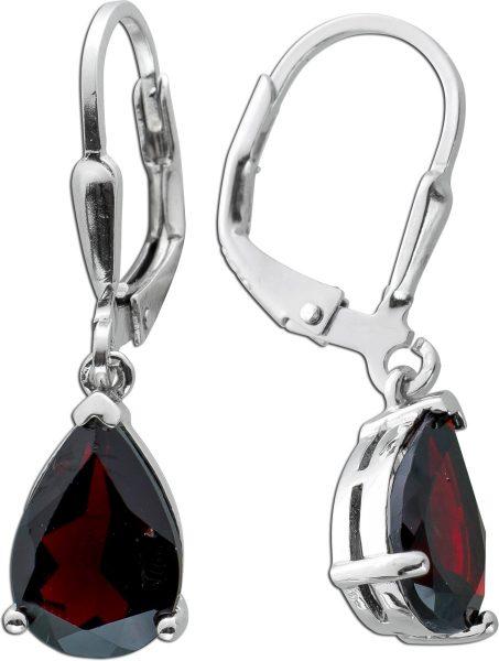 Edelstein Ohrringe roten Granat Silber 925 Ohrschmuck