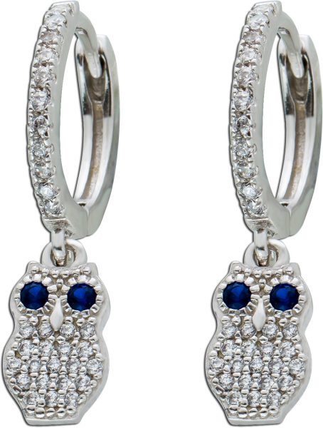 Ohrringe Klappcreolen Silber 925 beweglicher Eule weisse blaue Zirkonia Damen Kinder  21x5mm