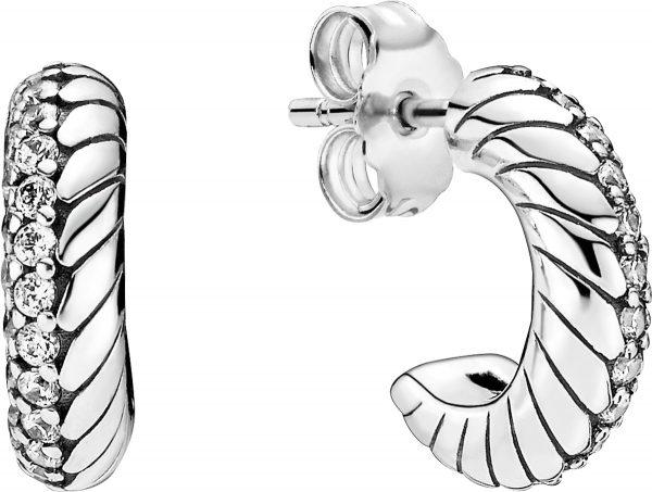Pandora Icons Ohring Hoop 299091C01 Pave Snake Chain Pattern Silber 925 Klare Zirkonia