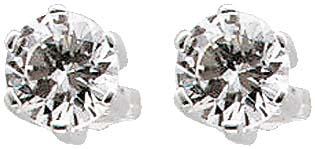 Ohrringe – Silberohrschmuck.  Wunderschöne Ohrstecker aus echtem Silber Sterlingsilber 925/- mit  2 wunderschön funkelnden Zirkonia im absoluten Topdesign. Durchmesser Stein ca. 8 mm, rhodiniert und hochglanzpoliert. Ein edles Accessoire für alle, die das