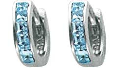 Ohrringe – Klappcreolen aus echtem Silber Sterlingsilber 925/-, mit 12 hellblauen blautopasfarbenen Zirkoniasteinen, Länge 12mm. Die Oberfläche ist poliert und rhodiniert. Zum Schnäppchenpreis von Abramowicz.