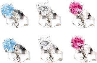 Ohrringe – Hammerpreis Stuttgart. Ohrschmuckset, Ohrstecker 3 Paar (6-teilig) mit funkelnden blauen, weißen und pinkfarbenen Zirkonia, Stecker und Mutter aus echtem Silber Sterlingsilber 925/-, Durchmesser Steine ca. 3,61mm, Dicke ca. 3,64 mm in feinster