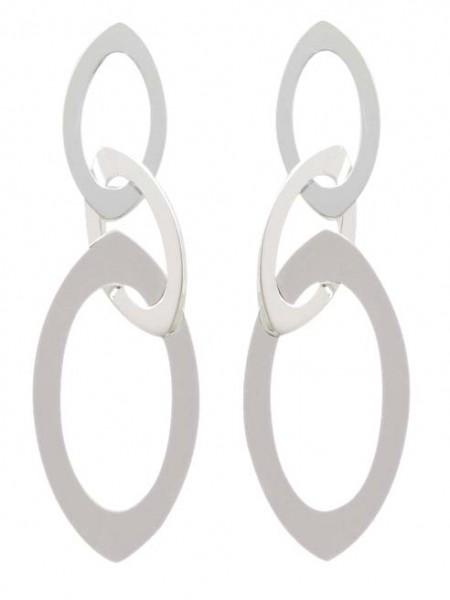 Ohrringe – Ohrstecker beweglich unterer Ring (ca. 15,67×29,93), oberer Ring (ca. 9,93×18,26mm) aus echtem Silber Sterlingsilber 925/-, mattiert. Länge des Ohrrings ca. 51,65, Dicke ca. 0,84mm. Zu diesem Knallerpreis nur aus dem Juwelierhaus ABRAMOWICZ in