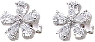 Ohrringe – Silberohrshmuck. Ohrstecker aus 925/- Silber Sterlingsilber, mit 12 Zirkonia.