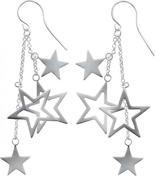 Ohrringe – Stuttgarts Adresse Nr. 1 für Gold und Silber.   Ohrhänger beweglich Silver Stars aus echtem Silber Sterlingsilber 925/-, rhodiniert (Weißgoldlook) und hochglanzpoliert. Durchmesser ca. 19,22mm, Länge des Ohrrings ca. 63mm, Dicke ca. 0,37mm in