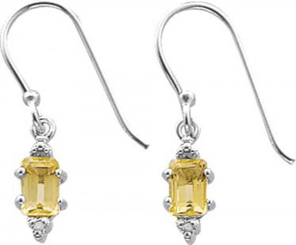 Ohrringe – Ohrschmuck 2 Diamanten 0,002ct W/P 2 champagnerf. Zirkonia