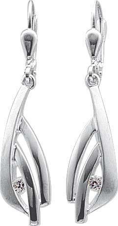 Ohrringe – Ohrschmuck mit 2 wie Diamanten funkelnden Zirkonia. Teils poliert, teils mattiert, aus echtem Silber Sterlingsilber 925/-. Maße ca. 25,0mm x 8,5mm, in Premiumqualität. Von Deutschlands größtem und günstigstem Schmuckverkäufer. Der unschlagbare