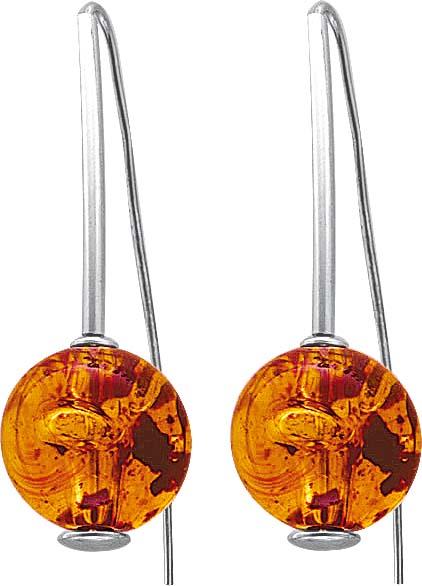 Ohrringe – Stuttgart Hammerpreis. Ohrhänger beweglich mit echtem, wunderschönen  Bernstein aus echtem 925/- Silber Sterlingsilber, Durchmesser Steine ca. 15,7 mm, Länge des Ohrrings ca. 49 mm, rhodiniert (Weißgold-Look) und hochglanzpoliert. Bernsteine mi