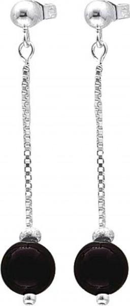 Ohrringe – Silberohrschmuck. Echte Silber Sterlingsilber 925/- Ohrstecker, beweglich mit echtem schwarzem Onyx, rhodiniert und hochglanzpoliert, sehr edel im Design. Durchmesser ca.8 mm, Länge des Ohrrings ca. 42 mm. Ein sehr glamouröses Schmuckstück, hoc