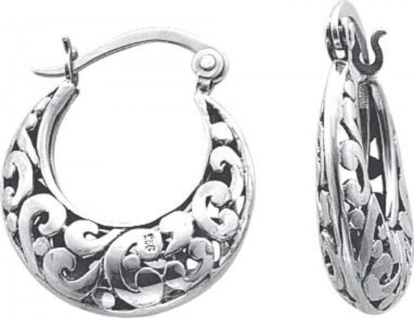 Ohrringe – Creolen mit Scharnier in echtem Silber Sterlingsilber 925/- in der Größe von ca. 19,42×16,48 mm, hochglanzpoliert und rhodiniert ,funkelt und glänzt