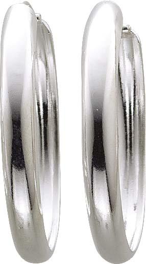Ohrringe – Creolen mit Scharnier aus echtem Silber Sterlingsilber 925/- in Goldschmiedequalität, in der Größe 2,10×40,52 mm. Die Oberfläche ist poliert und rhodiniert. Der Preisschlager aus Stuttgart.
