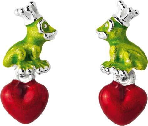Ohrringe – Schnäppchen! HEARTBREAKER , Art Nr:  LDFG23GR  designed by Drachenfels, Ohrstecker aus echtem Silber Sterlingsilber 925/-.,  mit rot emaillierten Herzen und süßen,grünen Fröschchen versehen. Maße ca : 20mmx 9mm. Zum Toppreis exclusiv aus dem Ha