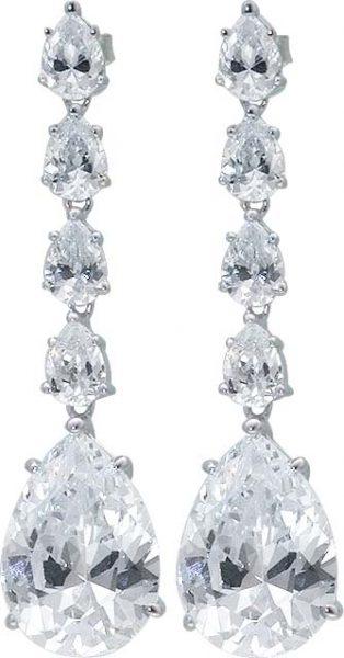 Silberohrringe mit 10 wie Diamanten funk...